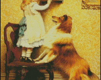 A LITTLE GIRL And Her SHELTIE cross stitch pattern No.621