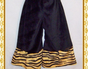 Minky Pants 2T Smooth Black With Tiger Cuff
