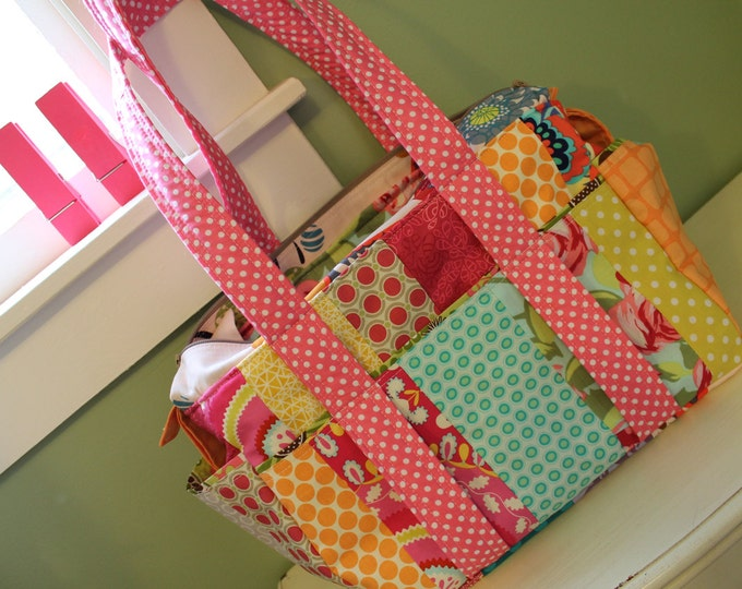 Baby Girl Girly Pink Patchwork Diaper Bag Nappy Tote: Custom made to order