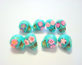 Turquoise and Pink Howlite Sugar Skull Beads-Collection of 8