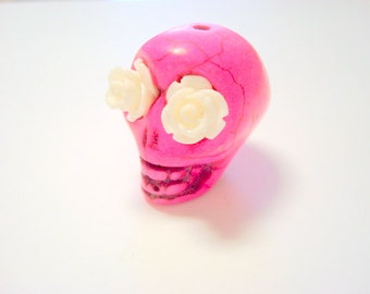 Gigantic Pink Howlite Skull Bead or Pendant  with White Roses in Eyes