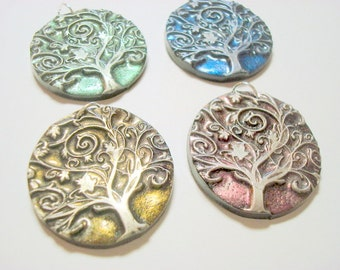 Interference Collection of 4 Yggdrasil Twirling Tree of Life Handmade Polymer Clay Pendants