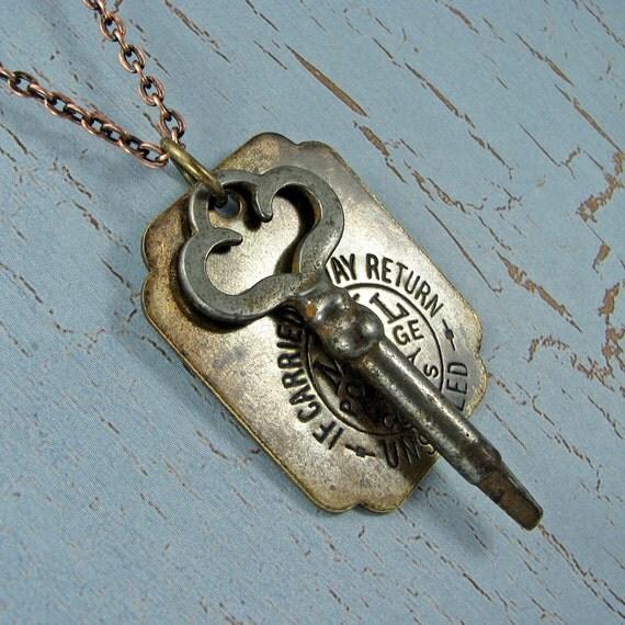 Long skeleton key necklace with vintage  postal tag