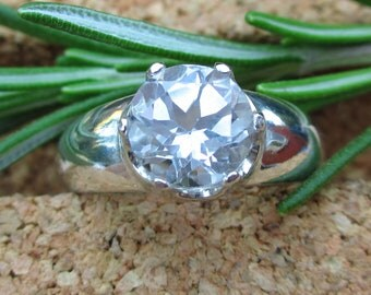 White Topaz Ring in Sterling Silver, Round Faceted Gemstone - Free Gift Wrapping