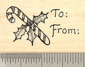 Christmas Gift Tag Rubber Stamp, Candy Cane E3606 Wood Mounted