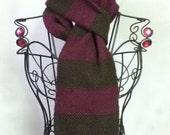 brown & fushia:  handwoven striped scarf