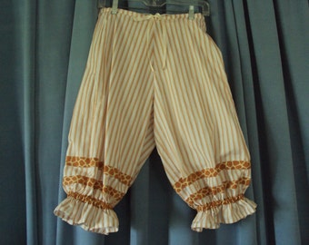 Pantaloons,knickers, gold and white stripe bloomers,  lounge wear,  Design your own Christmas elf