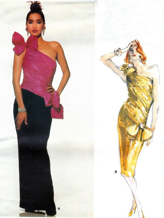 1980s Evening Dress Pattern Vogue Designer Original By