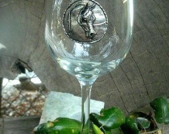 Arabian Horse Pewter Decorated Wine Glass