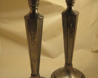 Deco Silver plate candle sticks