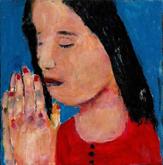6x6 Acrylic Portrait Prayer Painting Religious Spiritual Little girl praying Hands clasped Blue background Original painting no 3