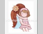 Girls room decor mother daughter art baby girl nursery art children's art red hair mom blonde hair girl My Sunshine 8x10