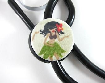 Stethoscope ID Tag Clip Charm - Hula girl
