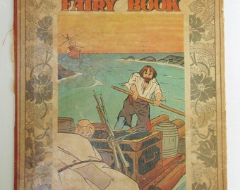 Hardcover Vintage Children's Book, Front Cover ONLY to Frame, Vintage Fairy Book, Vintage Robinson Crusoe, 1913 Antique Book Hardcover