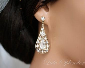 Wedding Earrings Gold Crystal Teardrop Filigree Bridal Earrings Simple Crystal Teardrop Vintage Style Bridal Jewelry MIER