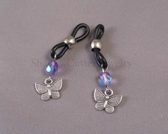 Crystal and Butterfly Eyeglass charm pair, black eyeglass holders, chainless eyeglass accessories, spectacle sunglasses