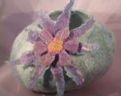 Felted Vessel Bowl with Pretty Felted Flower in blue and purple