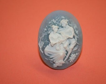 Large Light Blue Couple Cameo Ring