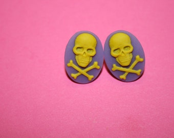 SALE Small Purple and Yellow Skull and Crossbones Cameo Earrings
