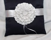 Satin Ring Bearer Pillow in Navy & Silver with Flower Brooch