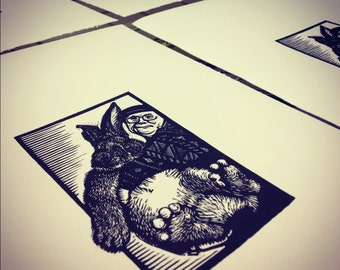 Big Bunny Linocut original hand-pulled relief print