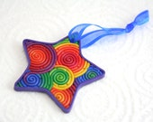 Rainbow Star Ornament in Polymer Clay Filigree - StarlessClay
