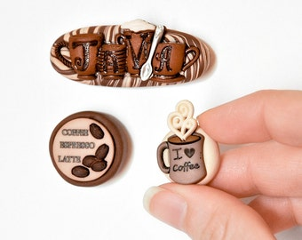 Coffee Lover Magnets Fun Gift Set of 3 Java, Coffee Beans, Espresso Cup in Brown Beige Swirled Polymer Clay for Office or Home Decor