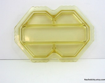 Depression Glass Serving Tray, Art Deco Design, Sectioned