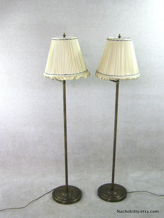Pair 1930s Brass Floor Lamps, Adjustable Arms, Silk Shades
