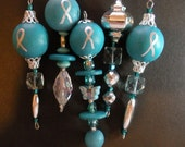 Ovarian Cancer Awareness Ornaments, Butterfly, Lampwork Bead, Teal, Silver, Crystal, Wood, Teal Ribbon Awareness, set of 5, design #5