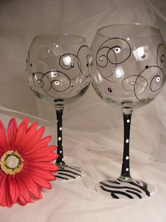 Items similar to zebra wine glasses with swirls and polka for Homemade glass painting designs