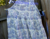 Doctor Who Toile print apron, blue  Sizes 8-16