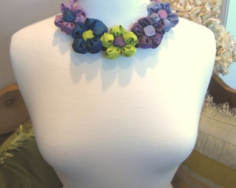"""Ribbon daisy bib statement necklace -- French ribbon daisies in """"ocean"""" colors -- be a flower girl"""