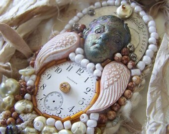 Wondrousstrange Design  Angel Pearl Timepiece Raku Stoneware Assemblage Art Doll OOAK
