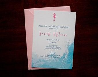 Seahorse Watercolor Invitation