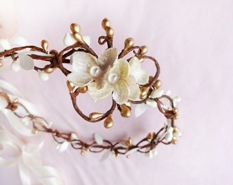 ivory wedding headband, bridal headpiece, gold circlet, champagne flower hair accessories, bridal headpiece -FROU-FROU- cream hair vine