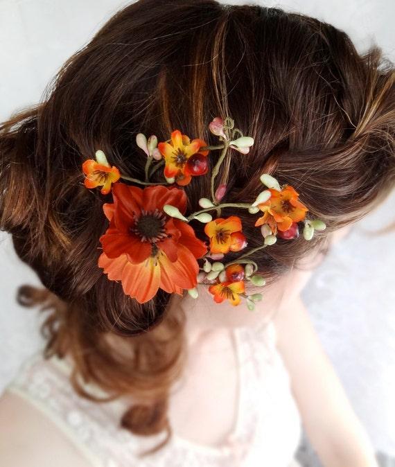 fall wedding hair clip, autumn wedding, fall flower hair accessory, orange flower -WILDWOOD- rustic wedding hairpiece, bridal hair flower
