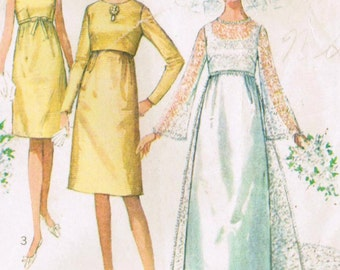 1960s Simplicity 6759 Vintage Sewing Pattern Misses' Wedding Dress Bridesmaid Dress Evening Gown Size Bust 31, Size Bust 32