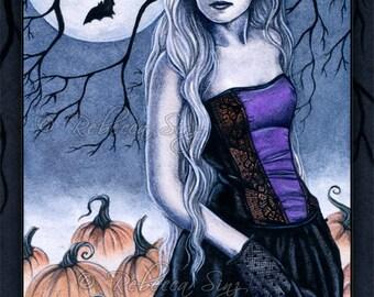 All Hallows' Eve PRINT Gothic Halloween Pumpkins Bats Corset Fantasy Art 3 SIZES