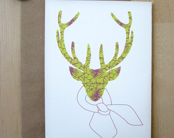 "Green Reindeer Holiday Greeting Cards,  Flower Pattern Card, 5x7"", Reindeer Modeling a Scarf, Handmade"