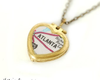 Map Necklace of Atlanta Georgia on Tiny Vintage Heart Locket