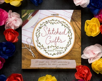 Learn to Embroider Gift Set- Embroidery How-to book Stitched Gifts, Chronicle Books, your choice of embroidery kit