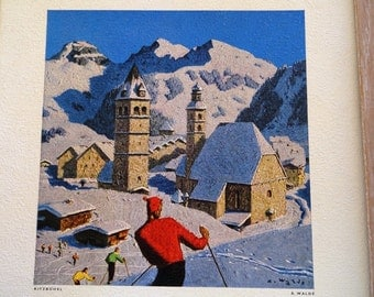SALE Vintage Alfons Walde print, rare, Austrian ski village Kitsbuehel