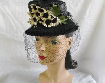 Clearance 1940's Vintage Black Straw Tilt Hat with Daisies and Veil