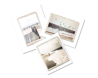 Summer Beach Ocean Photograph Print Set 5 x 7 Landscape Cottage Decor Sea Fine Art Photo