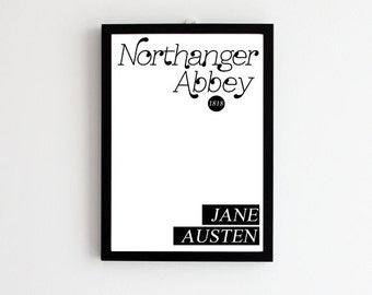 Jane Austen Gift // Northanger Abbey Print // Book Cover Poster // Literary Poster // Gift for Women // Literary Gift // Gift for Her