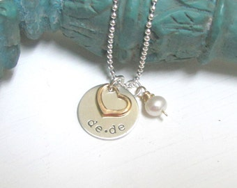Hand Stamped Mother's Necklace with Pearl... Custom Child Names Necklace ... Personalized Jewelry ...Hand Stamped Necklace