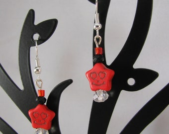 Stone creepy smiley star in red with Czech crystals sterling dangle earrings