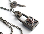 Locked Up Secrets - Steampunk Padlock Necklace - Handmade Jewelry