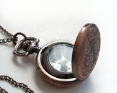 Copper Pocket Watch Style Compass Pendant